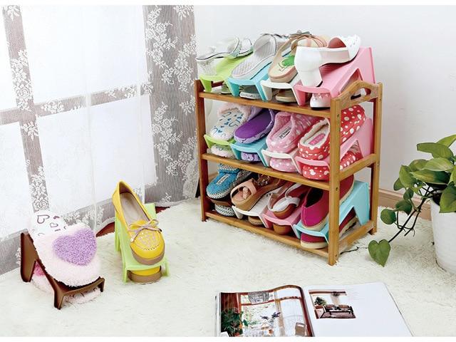 Moda De Plástico Zapato zapato zapatero Estante Doble de ...