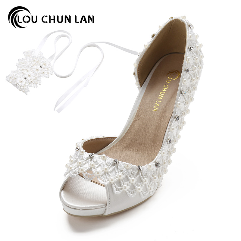 LOUCHUNLAN Women Pumps Shoes Peep Toe High Heels Lace wedding shoes Riband crystal Open Toe silk stain size 41-43 Ankle Strap shoes women pumps sexy open toe large size 41 43 lace wedding shoes bride and bridesmaids wedding dress pearl high heeled shoes