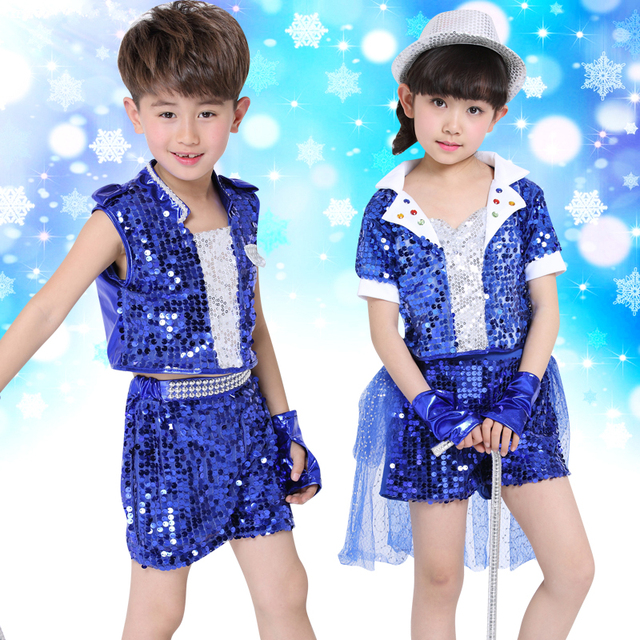 649f71405 5pcs lot Free Shipping Sequin Children Dance Costume for Hip Hop ...