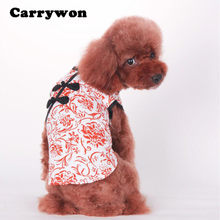 Carrywon Pets Dresses Hot Chinese Styel Blue and White Porcelain Printed Cheongsam Clothes Lovely Pet Tang Suit Clothing(China)