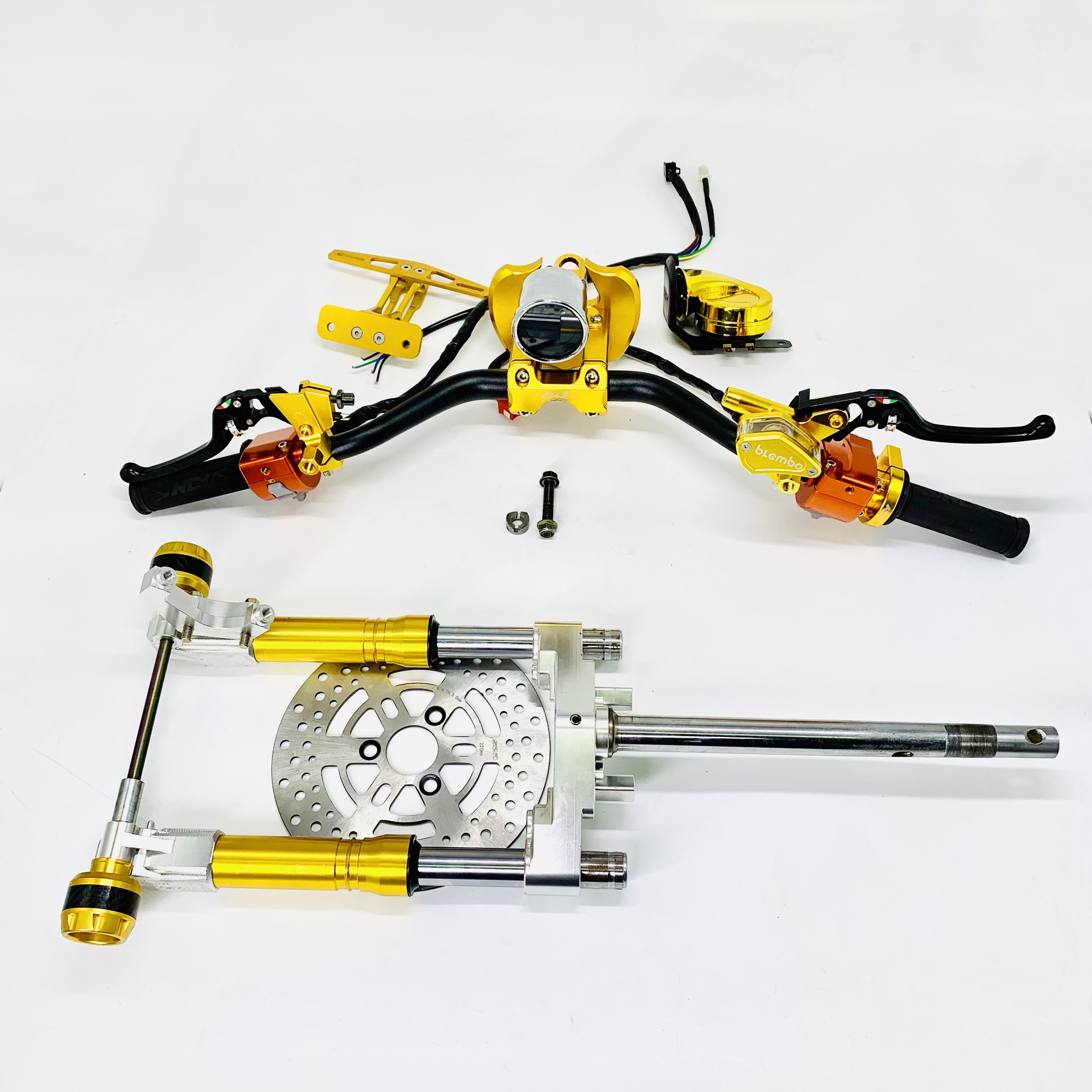 Steering Stem Kit Universal CNC Set Handlebar With Brake Disk Shock Absorbers Racing Tuning Parts For Jog Dio Cuxi Bws