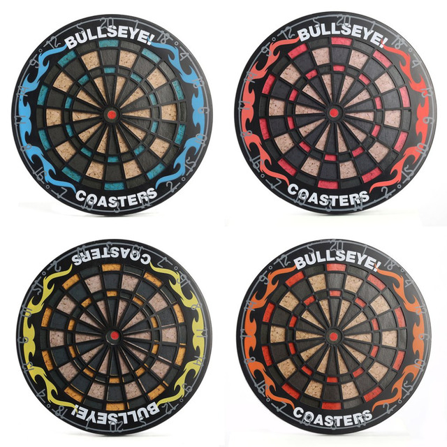 1set hit the spot 4pcs round bullseye coasters dart board drink
