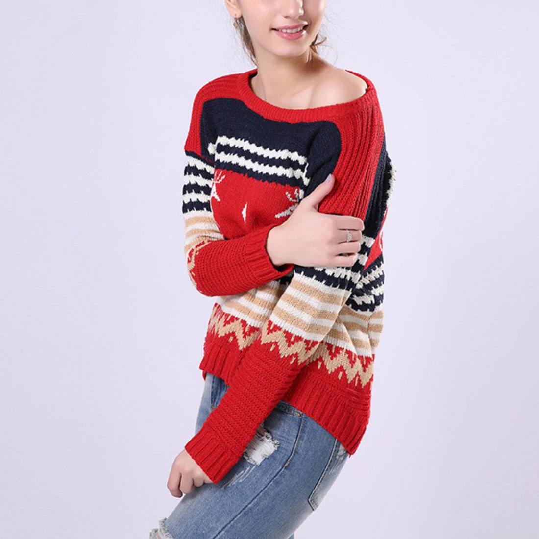 New Autumn Winter Casual Christmas Deer Print Sweater Long Sleeve Irregular Pullover Knitted Jumper Knitwear