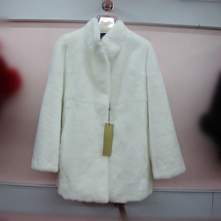 2016 новинка натуральный настоящий мех кролика пальто длинный стоячий воротник верхняя одежда