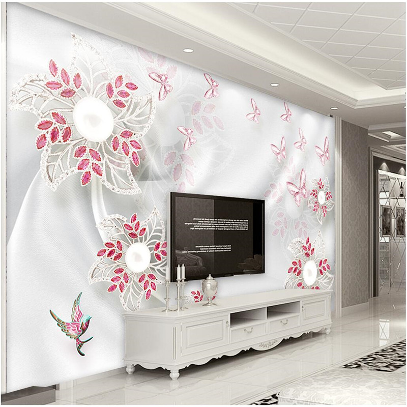 Custom Any Size Modern Wall Wallpaper Pearl Butterfly Silk: Custom Any Size Photo Background Wallpapers Silk Treasure