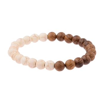 Elastic Natural Wood Beads Bracelet Bracelets Jewelry New Arrivals Women Jewelry Metal Color: 005-C1