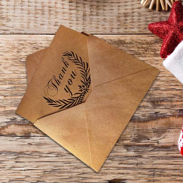 Online Shop 10pcs Vintage Kraft Thank You Cards Birthday Christmas