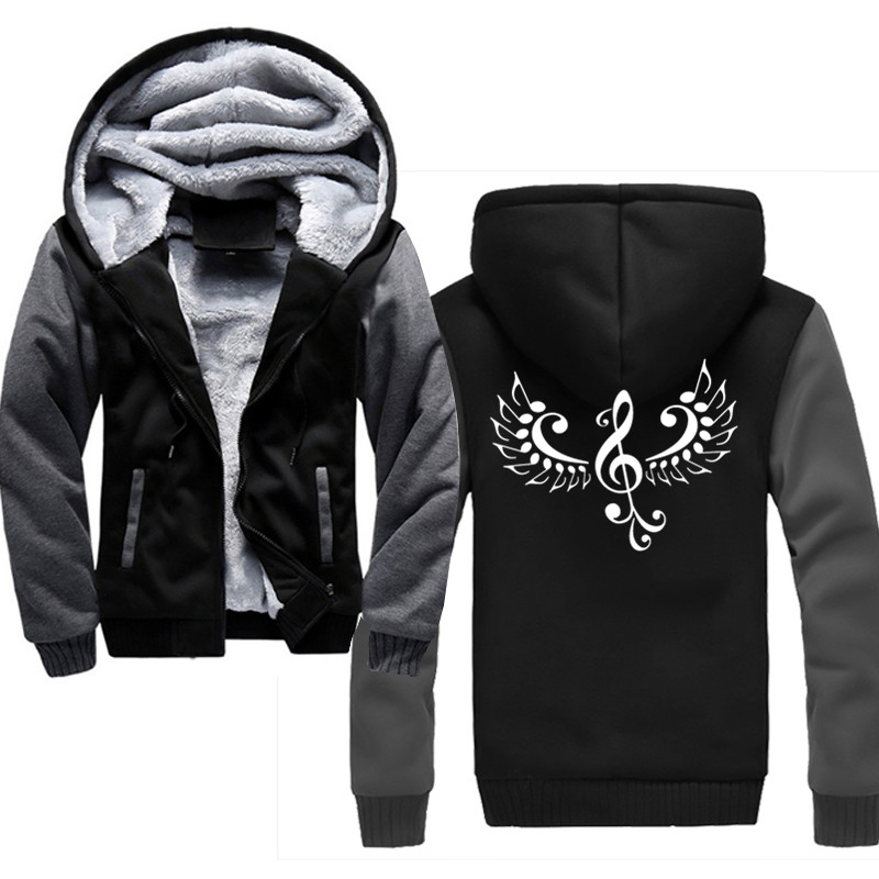 autumn winter Musical symbols with wings Men Sweatshirt Zip Front Men Hoodies Hood Sweatshirts For Men Long Sleeve Hoodie