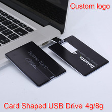 Bank Credit Card Shaped Slim 64gb USB Flash Drive 4GB 8GB 16GB 32GB Customized Your Photo Or Company Logo USB Pendrive Card Gift