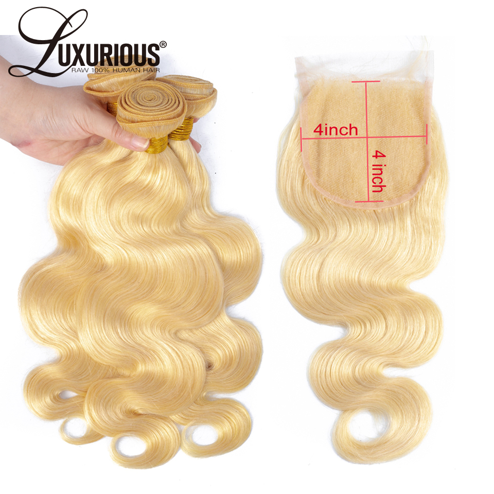 613 Blonde Body Wave Human Hair Bundles With 4*4 Lace Closure Pre-plucked Peruvian Remy Hair Extension 4pcs/Lot