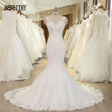 BEPEITHY New Arrival Robe De Mariage Sexy Sheer Back V-neck Lace Wedding Gowns Bridal Dresses Luxurious Wedding Dresses 2017