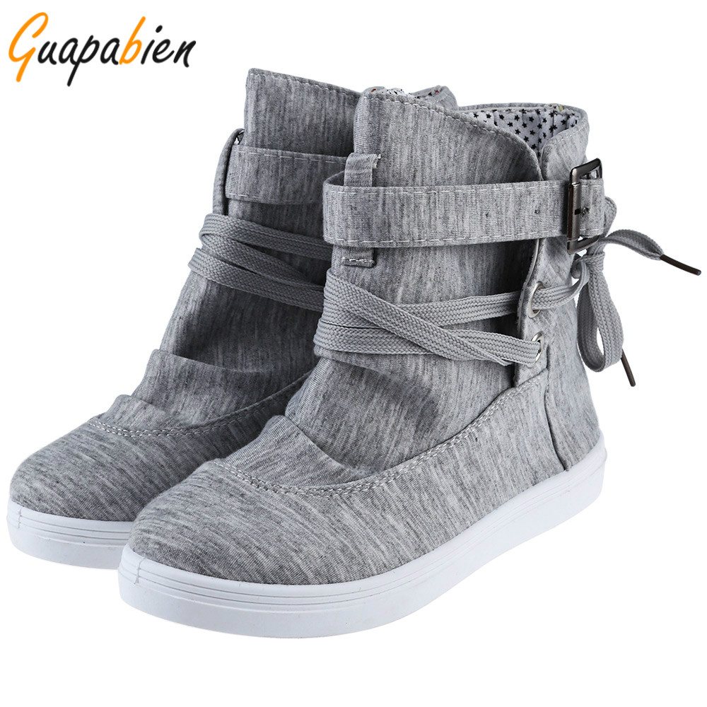 Guapabien Spring Autumn Women's Ankle Boots Casual Canvas Flats With Buckle Lace-Up Design Solid Fashion Martin Boots Plus Size ladylike short capless fluffy curly fashion side bang human hair wig for women