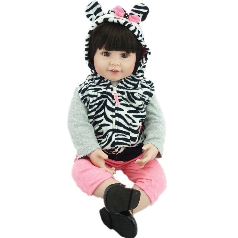 22Inch Kids Toys Handmade Reborn Dolls 55CM Lifelike Vinyl Reborn Boneca Bebe Fashion Girls Toy Juguetes