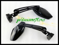 Motorcycle Gloss Black Mini Sport Mirrors For Suzuki Honda Kawasaki Yamaha