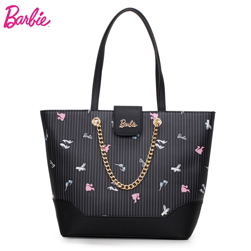 2018 Barbie Fashion Casual Shoulder Bags For Women PU Leather Tote Bag Large Capacity Hasp Single Shoulder Woman Bag Purse new metallic hasp pu leather tote bag