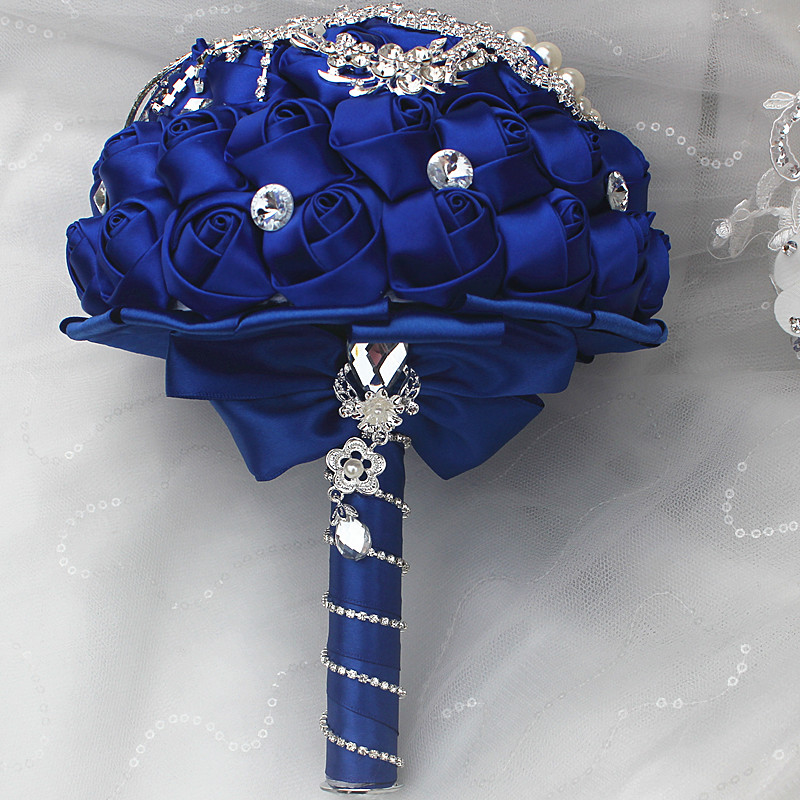 Royal Blue Satin Flowers Wedding Bouquets Tassels Crystal Diamond ...