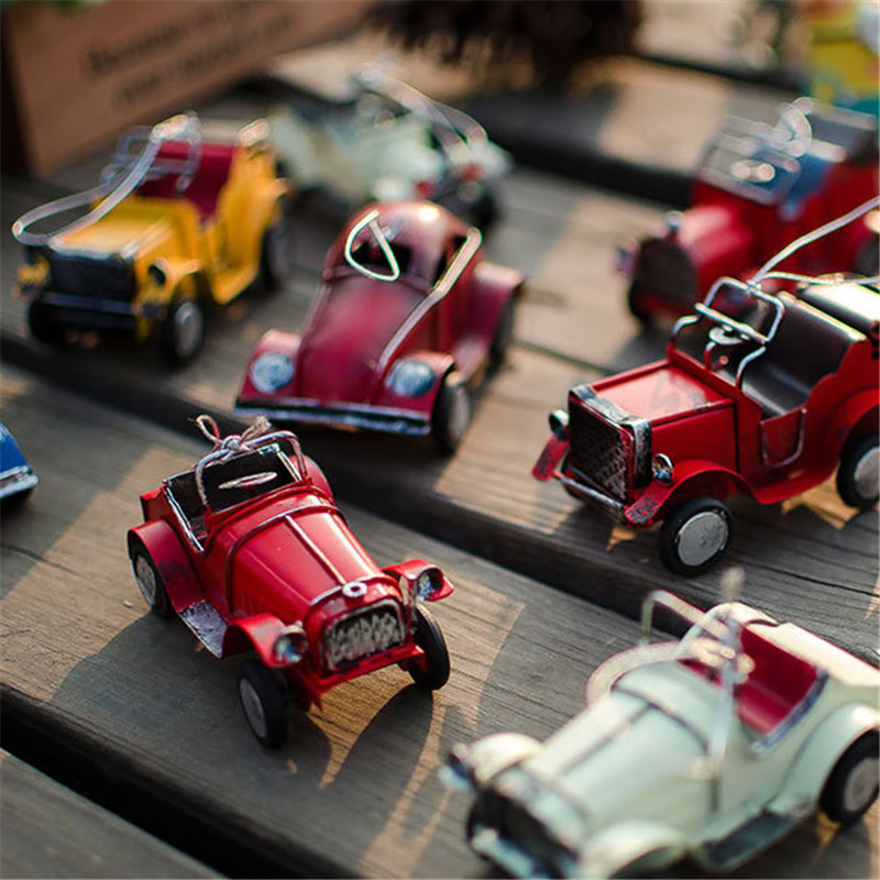 Exquisite Retro Iron Car Model Decoration For Kids Birthday Gift New Year Home Decorations Accessories Figurines Miniature Craft