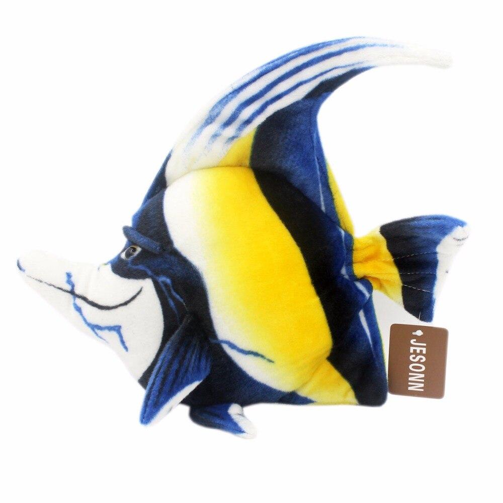 JESONN Realistic Stuffed Marine Animals Plush Platax Teira Leksaker för barns födelsedagspresenter, 38 CM