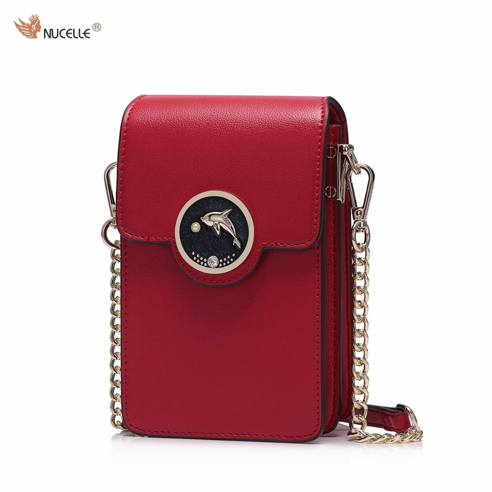 2017 Spring New NUCELLE Brand Design Women's Fashion PU Leather Girls Ladies Chains Shoulder Bag Crossbody Mini Phone Bags