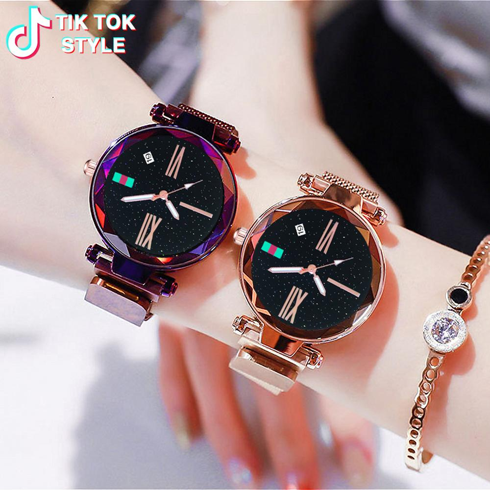 Minimalist Style Ladies Watch Luxury Quartz Starry Sky Magnet Watches For Women Bracelet Watch relogio feminino reloj mujer 2019(China)