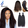 360 Lace Frontal With Bundles Alicrown Hair Kinky Straight Brazilian Hair With Closure Lace Frontal 360 Closure With Bundles