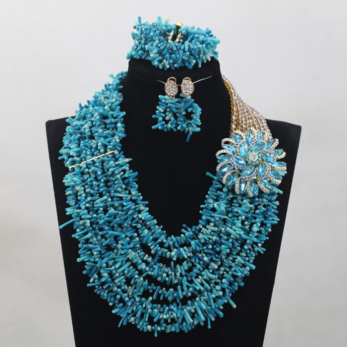 Fashion Seed Coral Beads Lady Jewelry Set Shinny Blue
