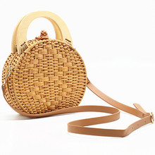 Hand Woven Wooden Handle Rattan Knit Bag Camel New Straw Shoulder Messenger Beach 2019 new Bohemian style