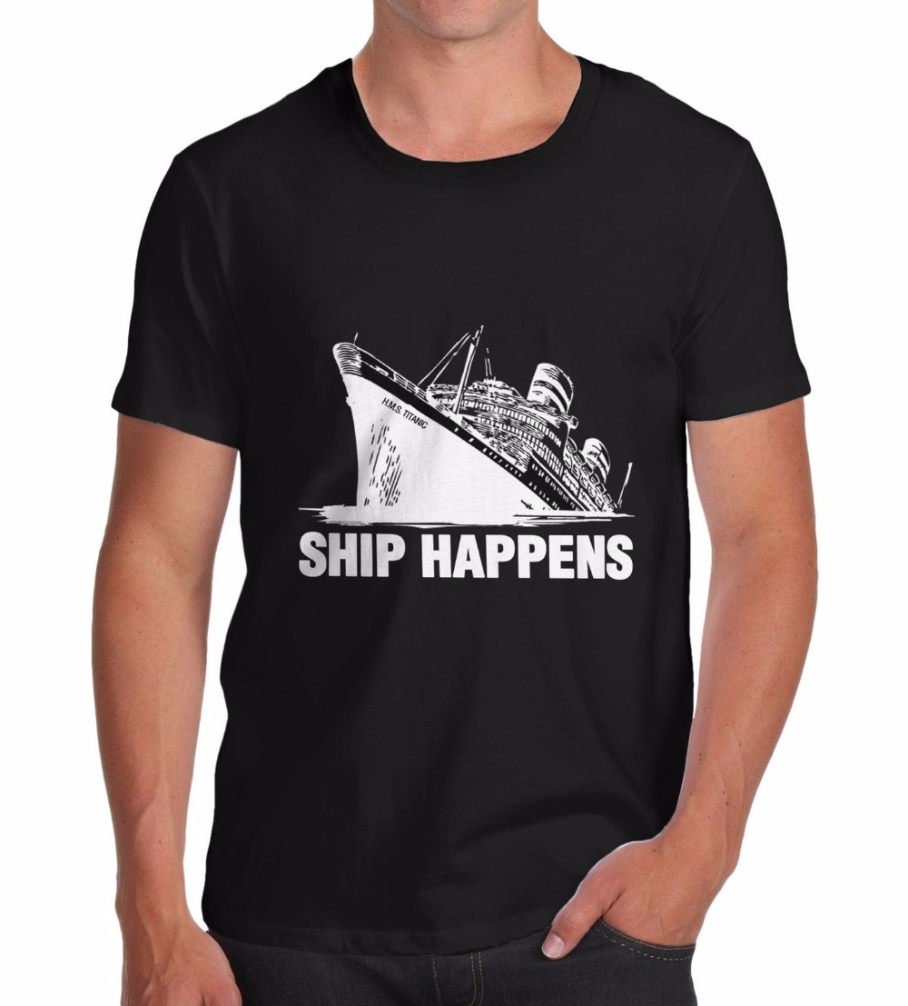 T Shirts Male Low Price Steampunk Mens Print O-Neck Short-Sleeve Titanic Ship Happens Funny Mens T-Shirt Tee ...
