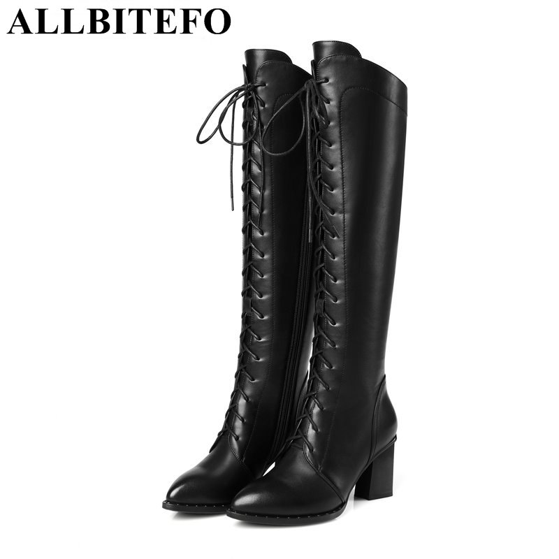 ФОТО ALLBITEFO Fashion genuine leather pointed toe thick heel women knee high boots winter snow warm boots high heels mujer botas