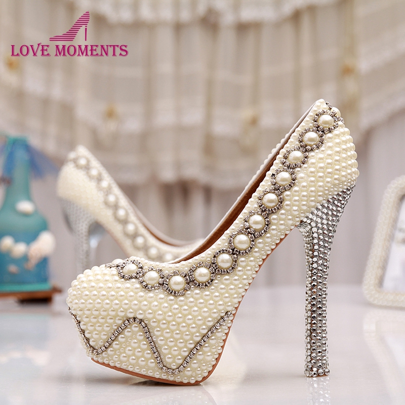 Free Shipping 5 Inches White Pearl Wedding Shoes Rhinestone Bridal High Heels Sexy Prom Pumps Ivory Bridesmaid Shoes Large Size