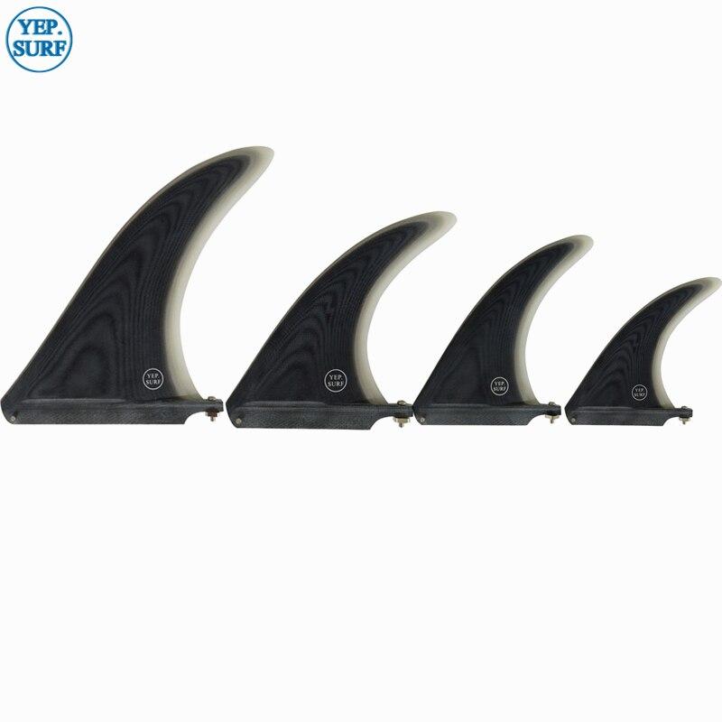 Surf 7/8/9/10.25 inch Fin Fibreglass Surfboard length Black color in Surfing Longboard Fins 2019 paddle board