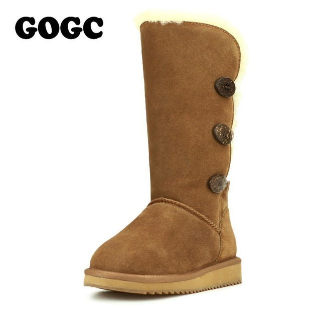 GOGC 2018 נשים חורף מגפי שלג מגפיים חם נשים של חורף מגפי עם צמר פרווה נוח עור אמיתי נעלי נשים 9722