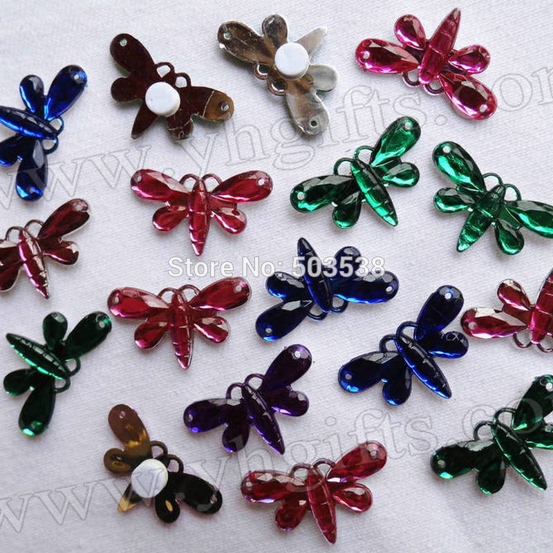 1000 Stks/partij, Gemengde 4 Kleur Plastic Dragonfly Stickers, Plant Ornament, Klassieke Speelgoed. Kleuterschool Ambachten. Diy Ambachten Fancy Colors