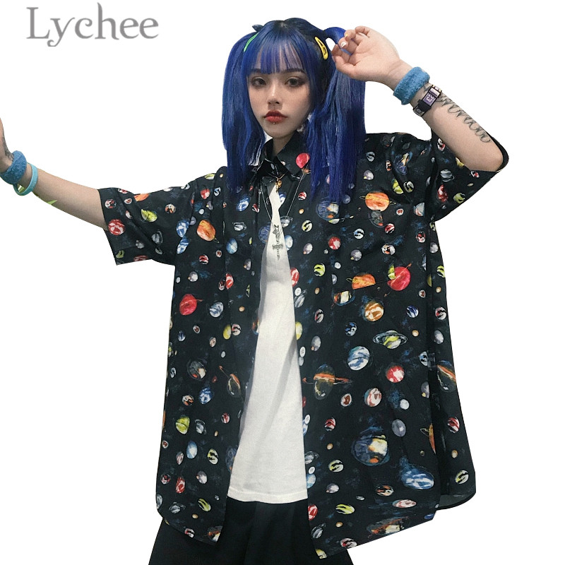 Lychee Harajuku Planet Print Female   Blouse     Shirt   Short SleeveBlock Loose Turn-down Collar Color Women   Blouse     Shirts