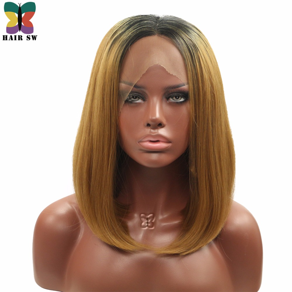 HAIR SW Medium Straight Lob Synthetic Lace Front Wigs Honey Blonde Middle Ombre Dark Roots Part