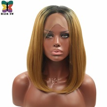 HAIR SW Medium Straight Lob Synthetic Lace Front Wigs Honey Blonde Middle Ombre Dark Roots Part Heat Resistant For Black Women