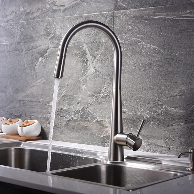Brass Pull Out Kitchen Faucet Bathroom Mixer Sink Faucet Hot Cold Valve Water Taps Faucets Brushed Finished With Water Pipe Tap