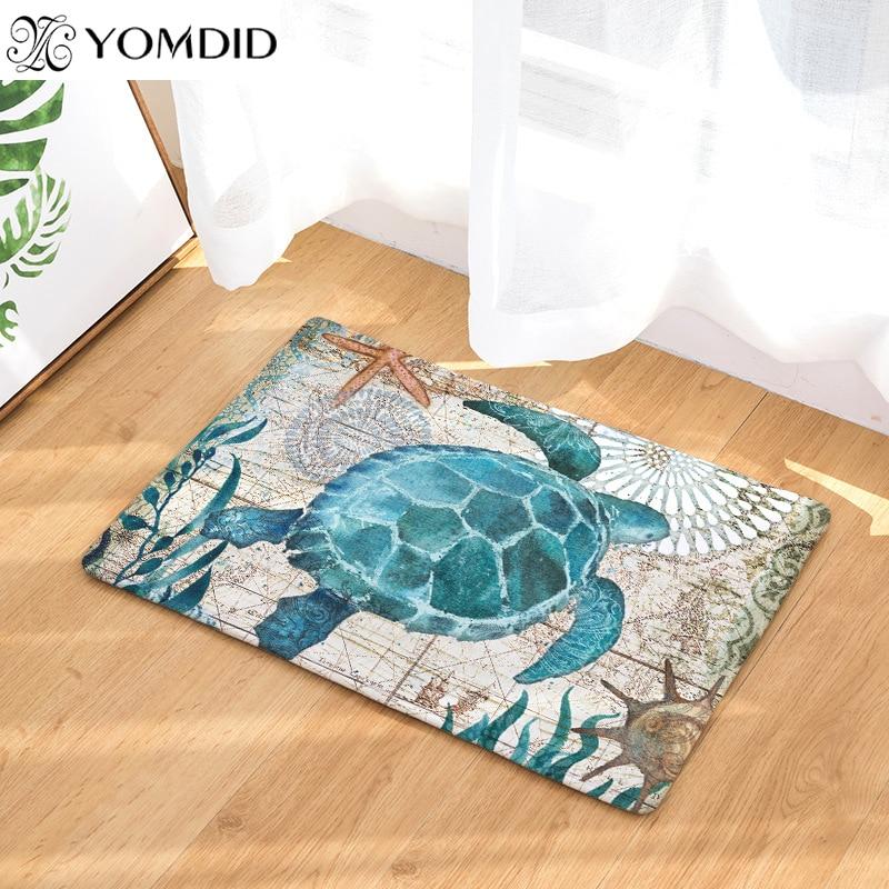 Esteiras de Impressão Hipocampo tartaruga polvo Padrão baleia Banheiro capacho Tapetes de Chão Da Cozinha 40x60 50x80 cm Anti-deslizamento tapete