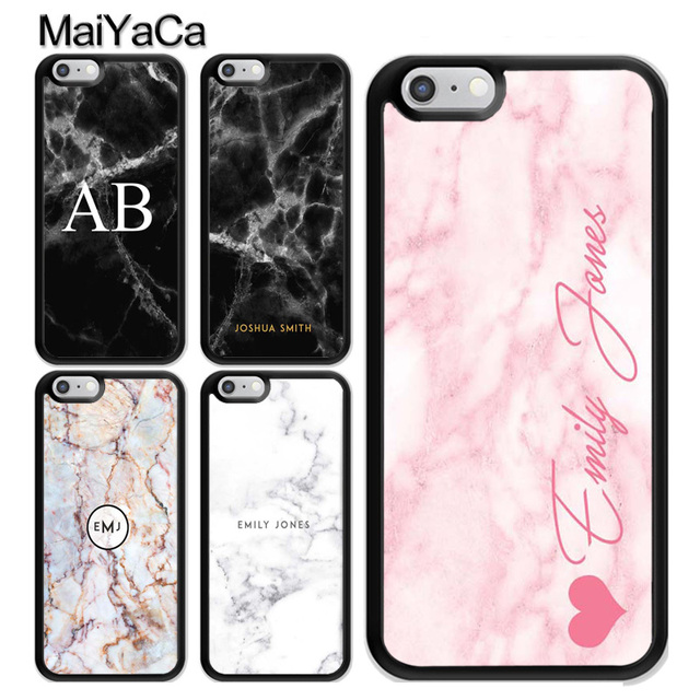 the best attitude e56a5 00ee5 US $3.97 5% OFF|MaiYaCa Personalised Marble Initial Name Custom Phone Case  for iPhone 7 8 Plus 5s SE 6 6s XS MAX X XR Soft Rubber Phone Bag Capa-in ...