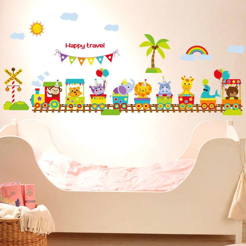 DIY Cartoon Cute Animal Train Wall Sticker Tree Stickers Retro Poster Wallstickers for Kids Baby Rooms Bedroom Decoration Mural