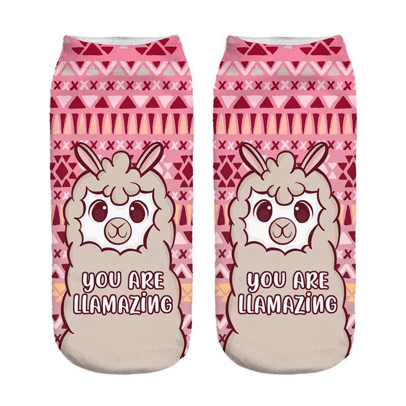 Kawaii Cute Llama New Hot Women Hosiery Printing Socks Girl Funny Meias Low Cut Ankle Sock Calcetines Christmas Gift Socks