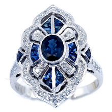 Vintage Big Red Blue Stone Ring Engagement Rings for Women Geometric Zircon Ring Lady Accessories Jewelry Anillos Mujer L5Q359(China)
