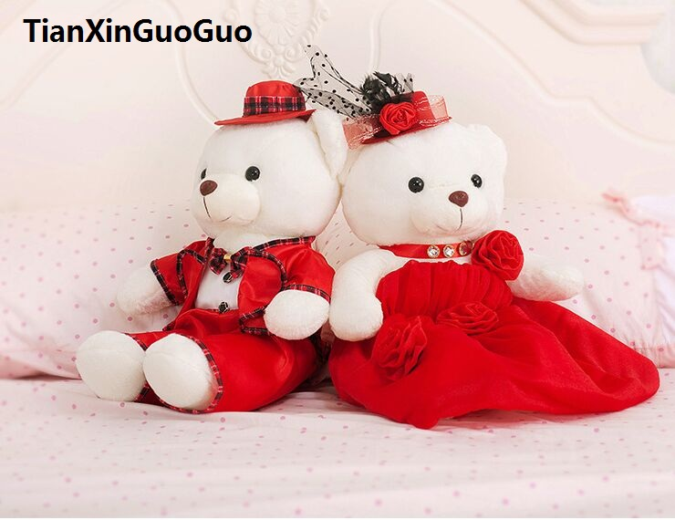 large 60cm red wedding dress teddy bears plush toy love couples bears soft doll proposal,wedding gift w2985 stuffed animal 120 cm cute love rabbit plush toy pink or purple floral love rabbit soft doll gift w2226