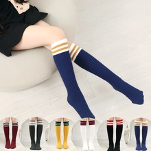 4 Pairs/Lot Baby Kids Stockings Girls Children Cotton Leg Warmers Stripes Students Stocking Solid Knee High Socking for 1-8 Year