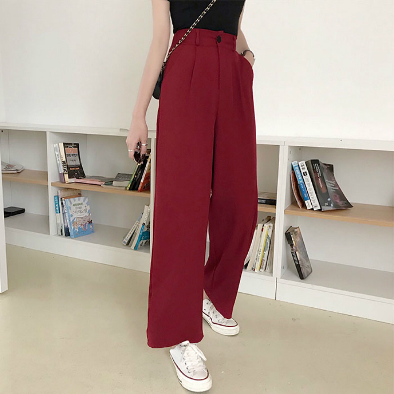 Mazefeng 2019 Spring Women Wide Leg Pants Women Loose Style Ankle-Length Pants Female High Quality Casual Straight Pants Loose