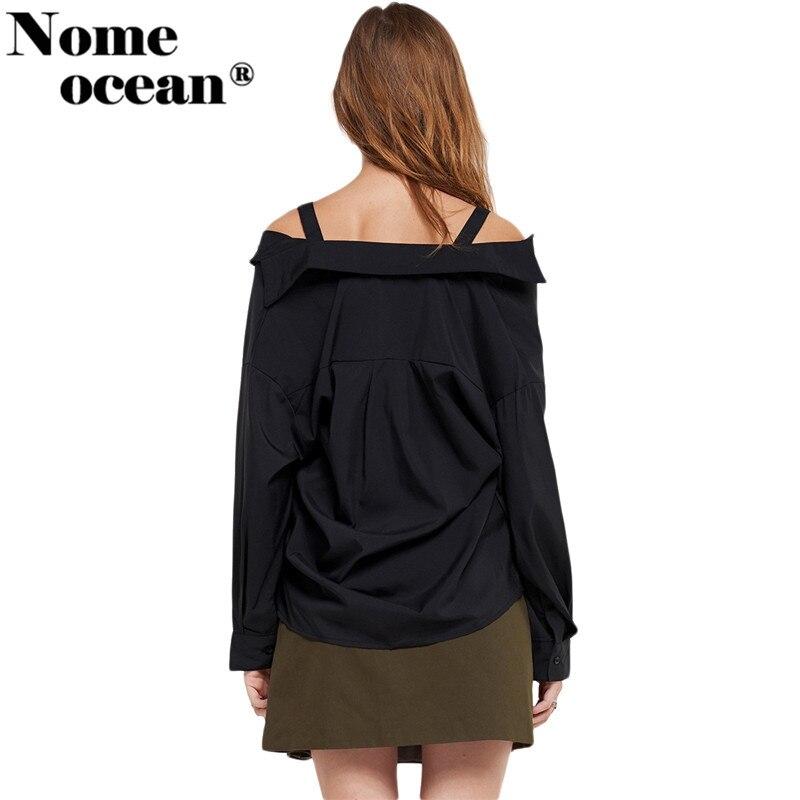 ea42bb27756382 Adjustable Buckle Belt Shoulder Strap Women's Shirts Slash Neck Off The Shoulder  Top Button up Long Sleeve Blouses Top M17122804-in Blouses & Shirts from ...
