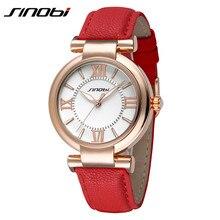 Sinobi marque femmes en cuir Classic Lady Montre étanche montres mode Noble or filles Montre – bracelet horloge Montre Femme