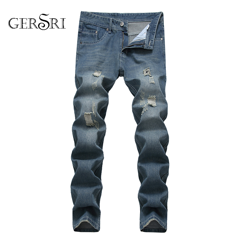 Gersri Mens Fashion Straight Jeans Fashion Pants New Denim Trousers Zipper Brand Jeans High Quality Stretch Jean For Boy Student