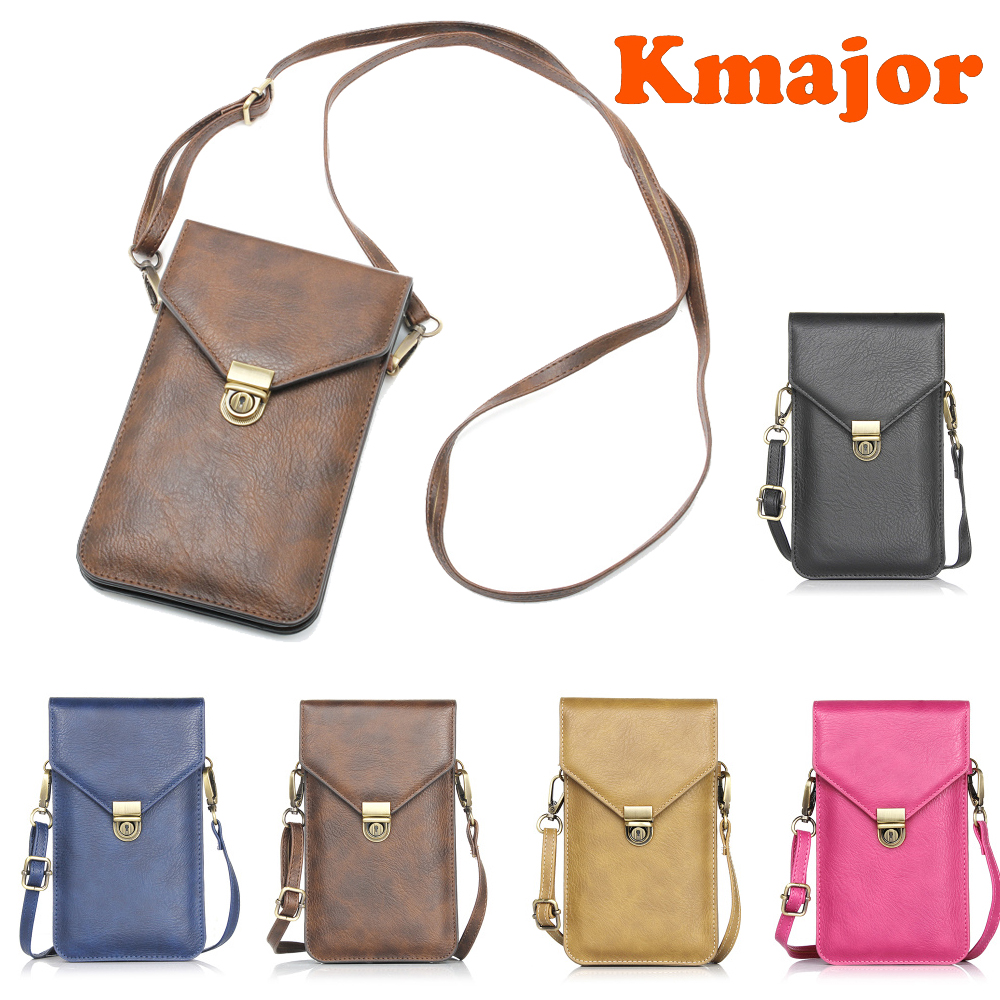 Universal Shoulder Durable Leather Package Mobile Phone Bag Pouch Women Hanging Neck Wallet Bag Case For Iphone 6 6S 7 8 XS Plus