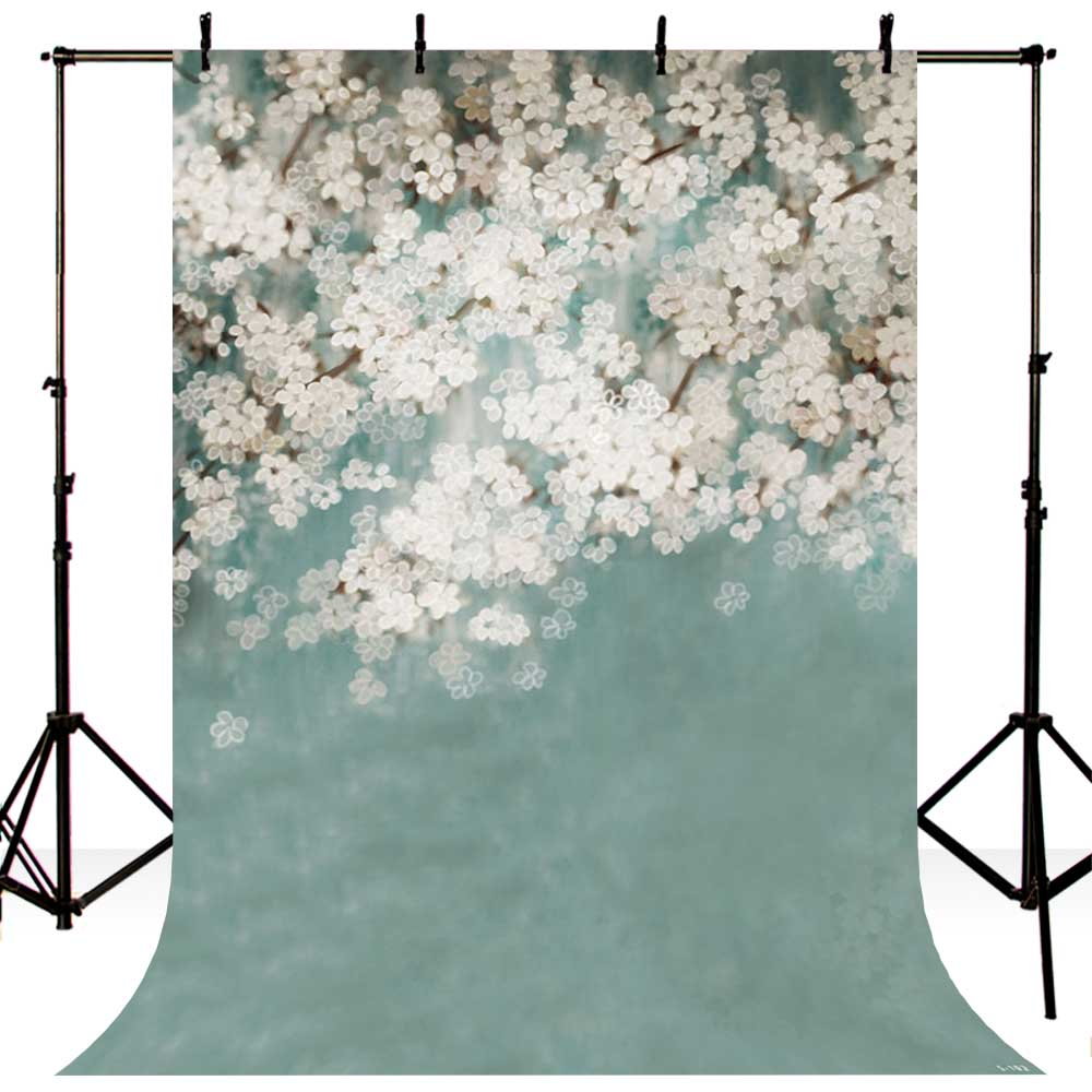 5X7ft Photography Background of Vintage Flower White Flower Baby Photo Backdrops for Photo Studio S-102 5x7ft white backdrop board photo background photography white studio cloth flower rattan corridor